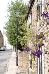 metcraft lamp post outside stone cottage with climbing plants in flower