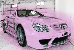 mercedes car line drawing style overlaid pink wash